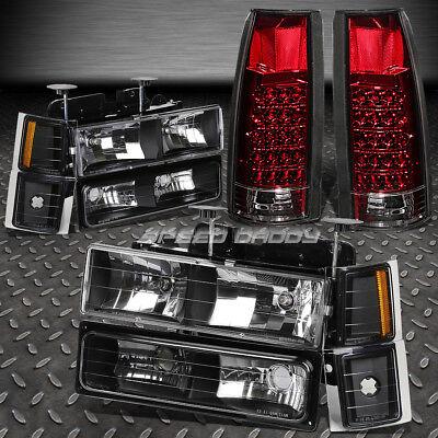 BLACK HEADLIGHT+AMBER CORNER+BUMPER+RED LED TAIL LIGHT FOR 94-02 CHEVY C10 (Chevy Chevrolet C2500 Suburban Headlight)