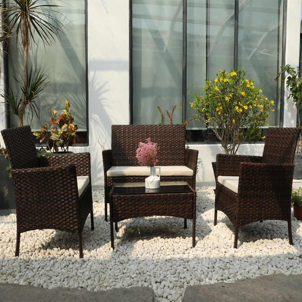 Garden Furniture - DIMAR garden 4 Piece Outdoor Rattan Patio Furniture Sectional Chair Mix Brown