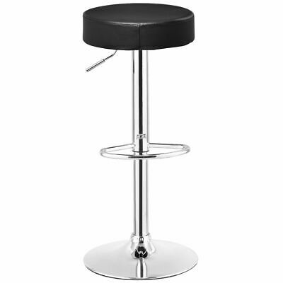 1 PC Bar Stool Round Leather Seat Chrome Leg Adjustable Hydraulic Swivel Black ()