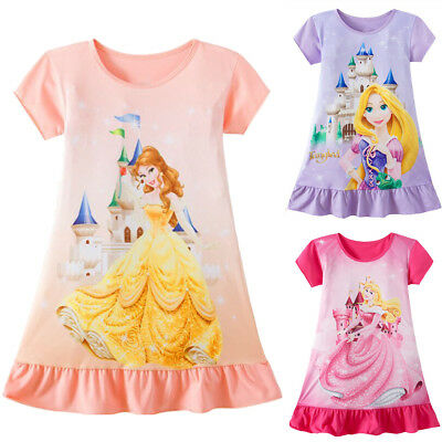 Toddler Kids Baby Girls Rapunzel Belle Aurora Princess Print Summer Party - Toddler Belle Dress