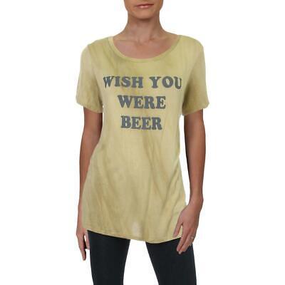 Honey Belle Womens Brown Logo Stretch Tee T-Shirt Top L BHFO 7607