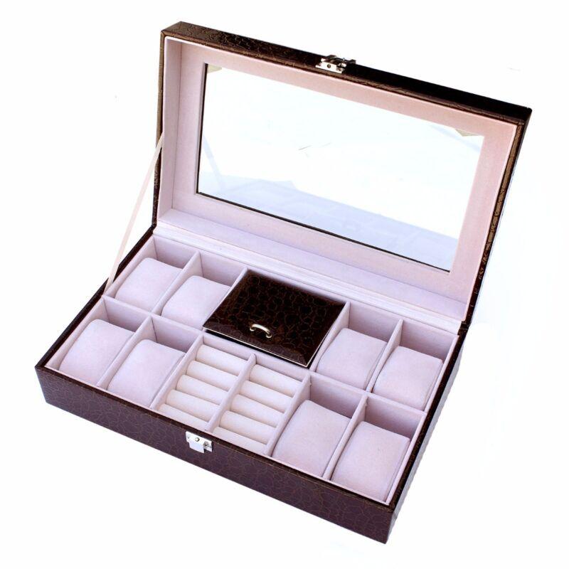 8 Slot Leather Watch Box Display Case Organizer Glass Top Jewelry Storage Brown
