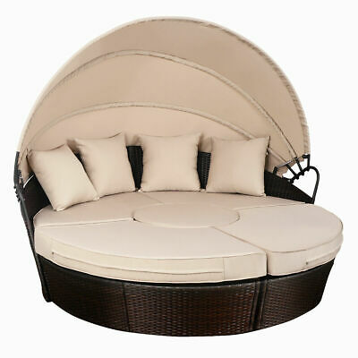 Outdoor Mix Brown Rattan Patio Sofa Furniture Round Retractable Canopy Daybed ()