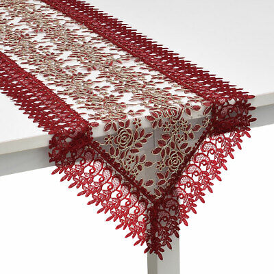 Wine 100% Polyester Doily Boutique Decoration Dinning Table Runner with Lace