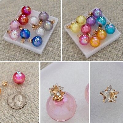 Double Sided Glass Ball Crystal Star Stud Earring