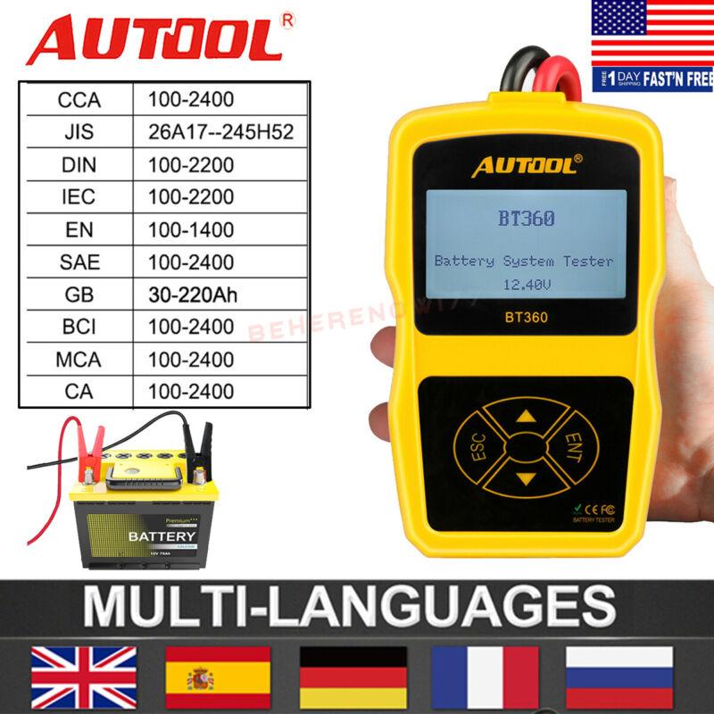 Autool BT360 12V Auto Battery Tester 100-2400 CCA AGM GEL Battery Analyzer