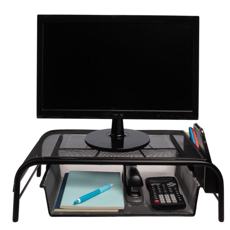 Mesh Metal Monitor Stand Riser Desk Storage Drawer Laptop Computer Organizer