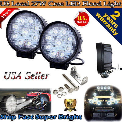 "2pcs 4"" 27W Flood LED Work Light Bar Offroad Boat Car Tractor Truck SUV Fog Lamp"
