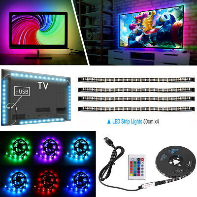 4 x 50CM PC TV LED Backlight USB RGB LED Strip Light Remote Kit 5V 30Leds/M US