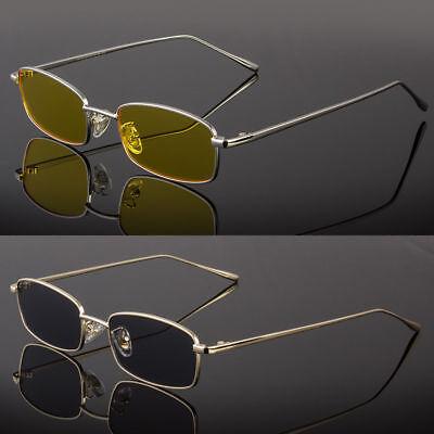 New Thin Rectangle Sunglasses Women Metal Small Square Men Sun Glasses UV400 ()