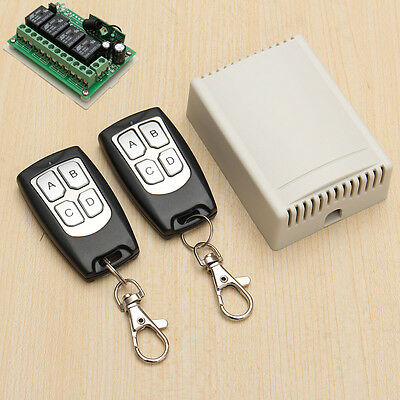 DC 12V 4CH Wireless Remote Control Relay Switch 2 Transceiver + Receiver