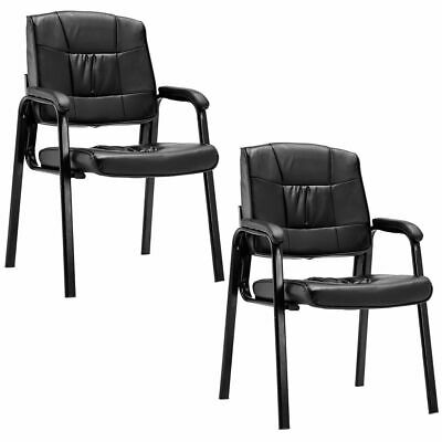 Set Of 2 Pu Conference Chair Reception Office Guest Lecture Exam Armchair New