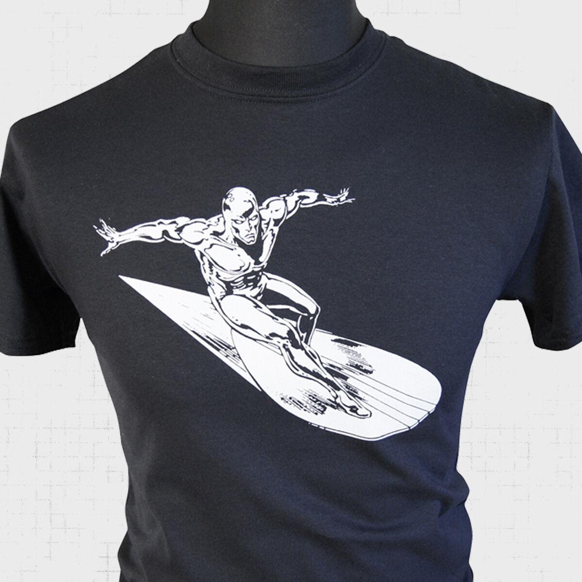 The silver surfer t shirt fantastic four retro comic super for Retro superhero t shirts
