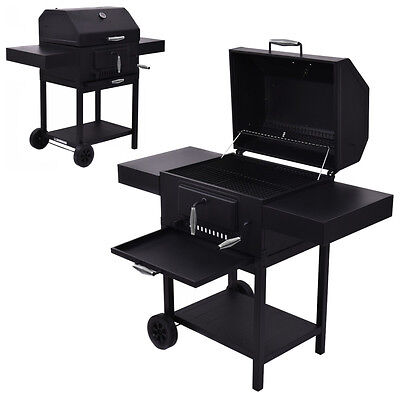 Outdoor Charcoal BBQ Grill Backyard Barbecue Cooking Smoker Deck Patio w/Casters