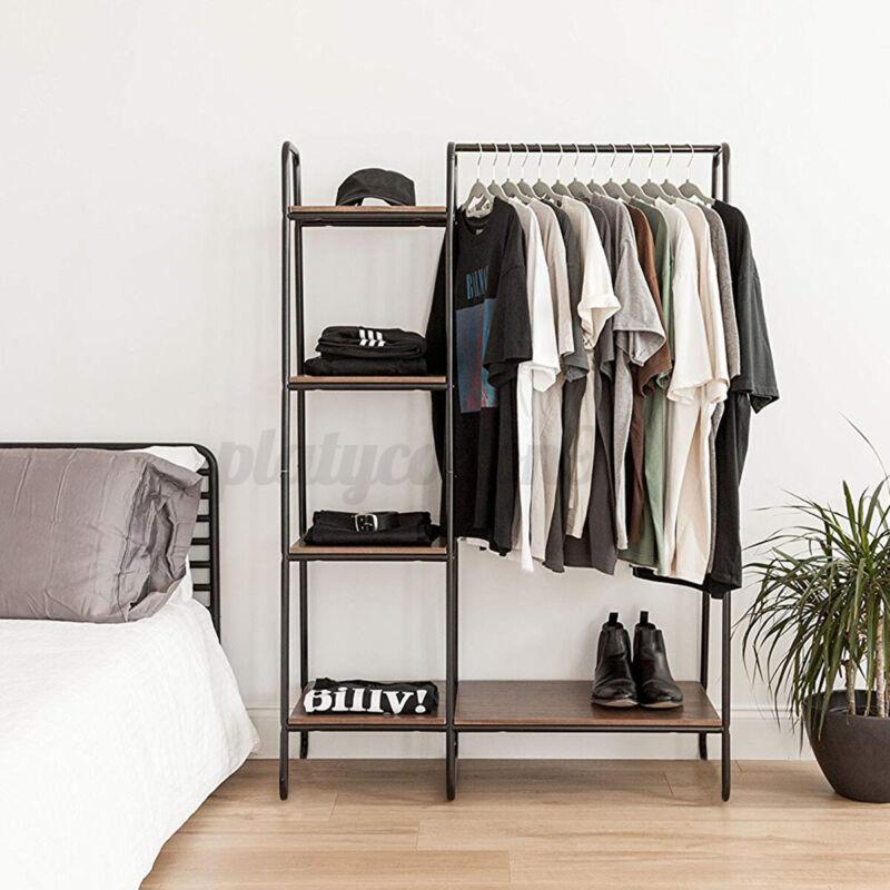4 Tier Coat Garment Rack Standing Closet Clothes Storage Shoes Organizer Shelves