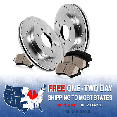 01 Awd Brake - FRONT DRILLED AND SLOTTED BRAKE ROTORS & CERAMIC PADS 2WD 4WD AWD Tacoma 4Runner