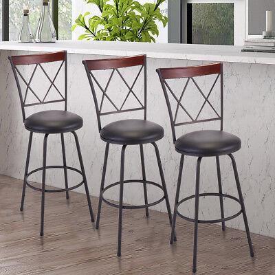 Set of 3 Modern High Back Swivel Bar Stool Counter Height Chair Bistro Pub Chair