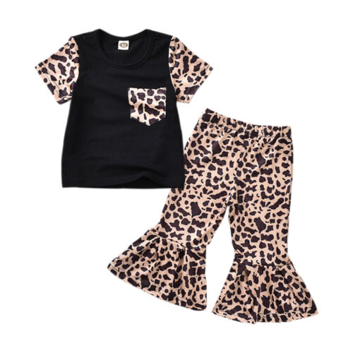 US Toddler Kids Baby Girl Leopard Clothes T-shirt Top Bell B
