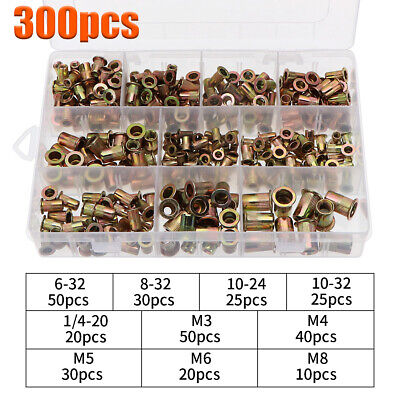 300pcs Zinc Steelrivet Nut Kit Rivnut Nutsert Assort 150pcs Metric150pcs Sae