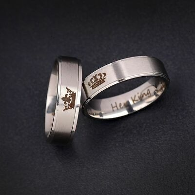 Couple His Queen Her King Titanium Steel Engagement Lover Rings Valentine - Valentine Ring