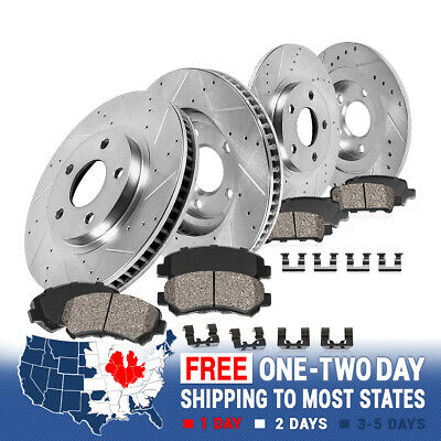Front+Rear Drill Slot Brake Rotors & Ceramic Pads For Kia -