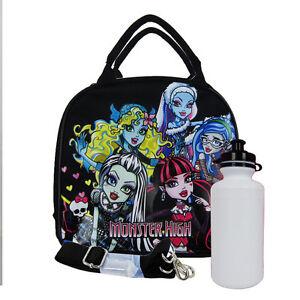 New Monster High Fashion Doll Black School Lunch Box Bag & Water Bottle