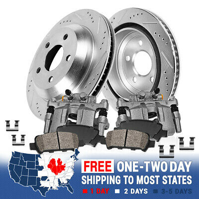 Rear OE Brake Calipers Rotors & Ceramic Pads For 6 LUG FORD F150 LINCOLN MARK LT