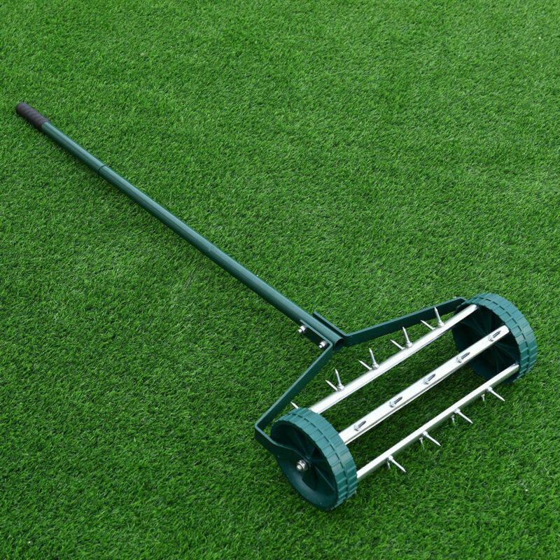 Rolling Garden Lawn Aerator Roller Home Grass Steel Handle