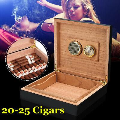 Cigar Humidifier Storage Travel Case Box+Humidor Hygrometer Cedar Wood Lined U