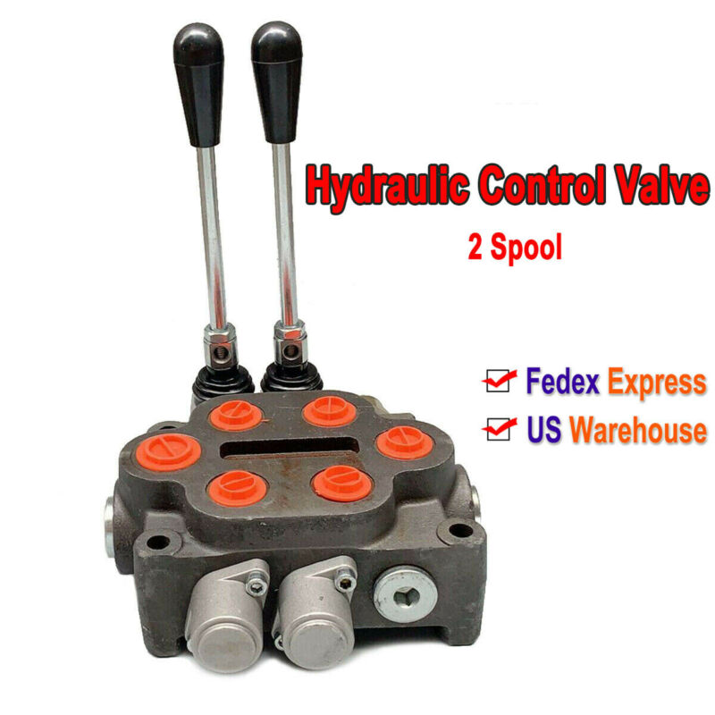 Hydraulic Control Valve 2 Spool for Ractors Loaders Log Splitter Max 3000PSI US