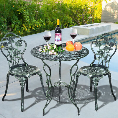 3PCS Patio Furniture Cast Aluminum Rose Design Bistro Set Antique Green -