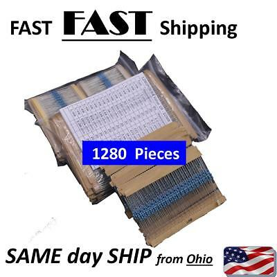 64 Values 1280pcs 1 Ohm - 10m Ohm 14w Metal Film Resistors Assortment Kit