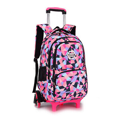 Girls Boys Children Trolley Backpack with 2/6 Wheels Kids Wh