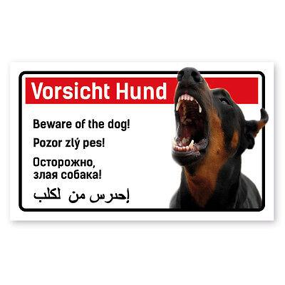 Warnschild Vorsicht Hund Dobermann - 5-sprachig für Zaun ,Tür gegen Einbrecher