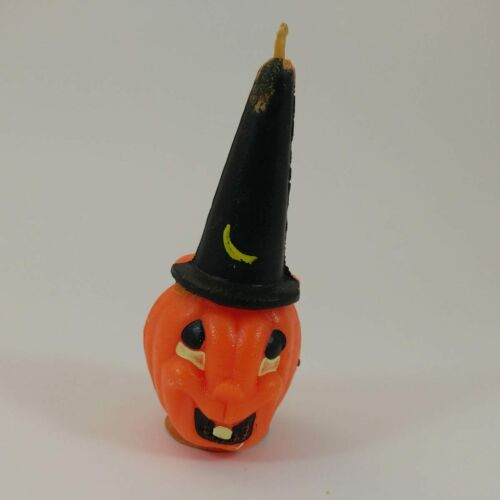 "vtg Gurley Halloween 4"" candle pumpkin jack-o-lantern tavern black witch hat"