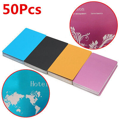 50pcs 85x54x0.17mm Colorful Laser Marking Business Card Blank Metal Thin-style