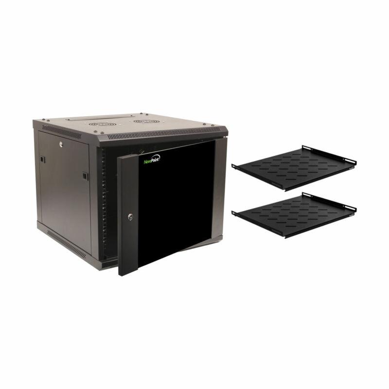 """9U Wall Mount 19"""" Server 600mm Cabinet Rack Enclosure Glass Door Lock W/ Shelves"""