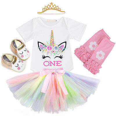 Unicorn Costume For Baby Girl 1st Birthday Party Romper Tutu 5PCS Outfit Clothes - Tutu Outfit For Baby