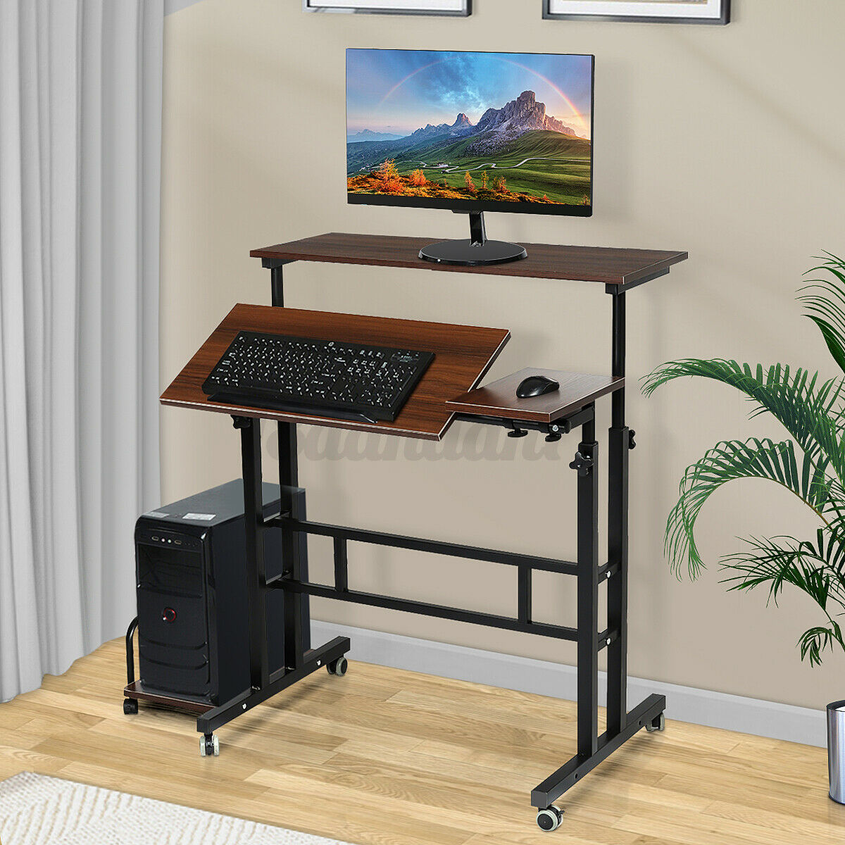 Wood Steel Frame Computer Desk PC Laptop Rolling Table Home Study Workstation !
