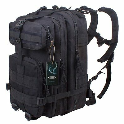 ONYX BLACK Heavy Duty Military Rucksack School Hiking TACTICAL BACKPACK Bag 40L