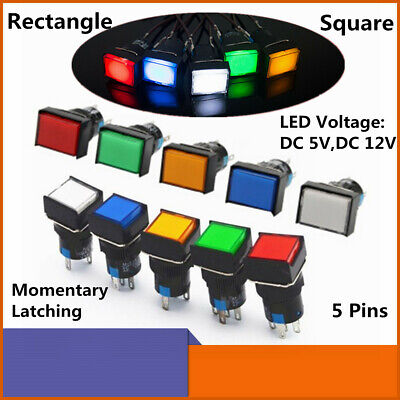 Push Button Switch Squarerectangular Led Power Signal Lamp 5 Pins 16mm 12v 5v