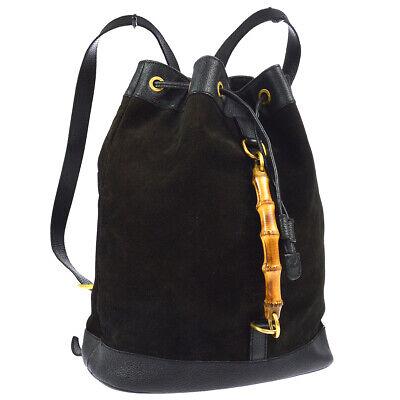 GUCCI Bamboo Line Drawstring Backpack Bag Black Suede Leather Vintage 00794