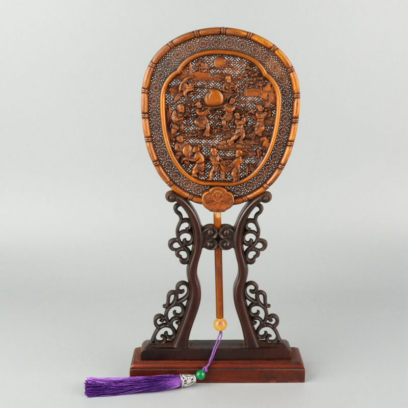 Chinese Exquisite Hand carved children Carving Boxwood fan