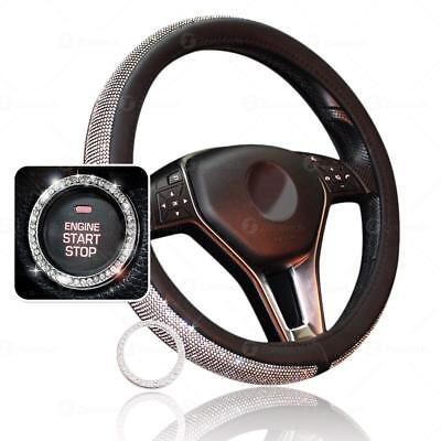 (Zone Tech Bling PU Leather Steering Wheel Cover Crystal Rhinestone Ring Sticker )