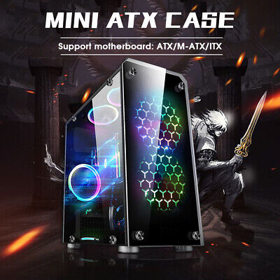 Micro ATX PC Gaming Case Transparent Tempered Glass USB 3.0 ITX Computer -