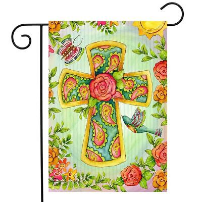 "Joyful Cross Spring Garden Flag Religious Floral 12.5"" x 18"""