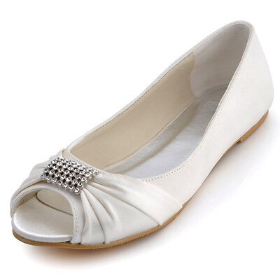 EP2053 White Ivory Peep Toe Ballet Flats Rhinestones Satin Wedding Bridal Shoes