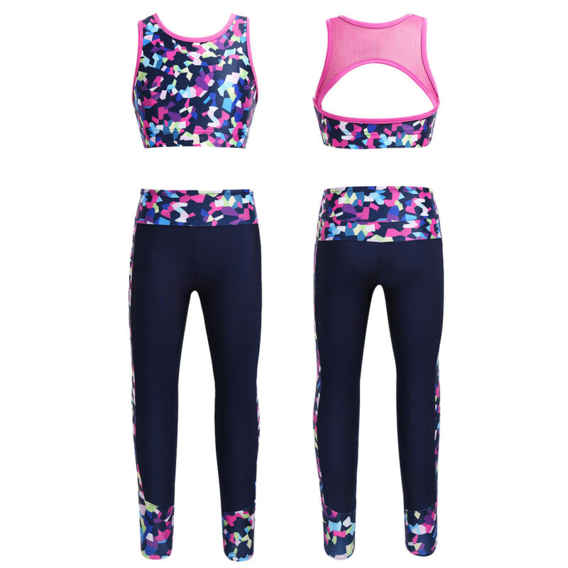 Aiihoo Kids Girls Two Piece Sleeveless Racer Back Tops with Leggings Sports  Workout Ballet Dance Outfits Active Top & Bottom Sets Girls