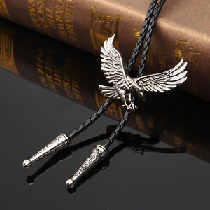 Indian Eagle Dance Rodeo Bolo Tie Western Cowboy Leather Necktie Bootlace Ties