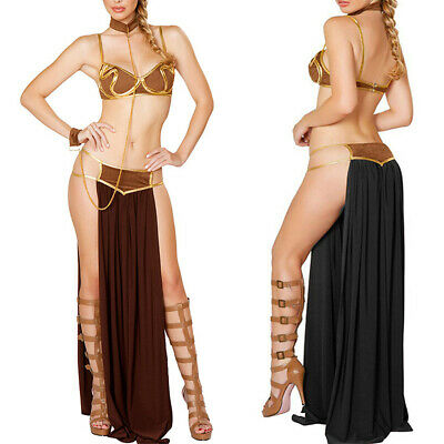 Women Star Wars Cosplay Princess Leia Slave Bikini Halloween Carnival Costume